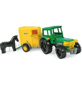 Traktor s prívesom a koníkom
