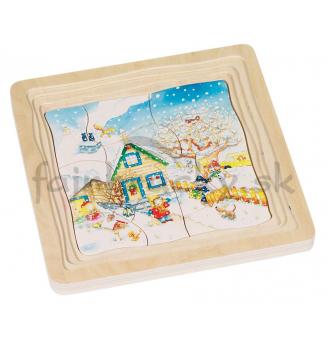 Vrstvové puzzle - 4 ročné obdobia