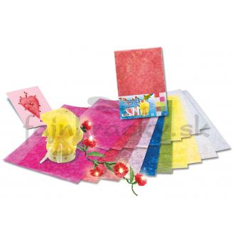 Farebný transparentný dekoračný papier so zlatými nitkami
